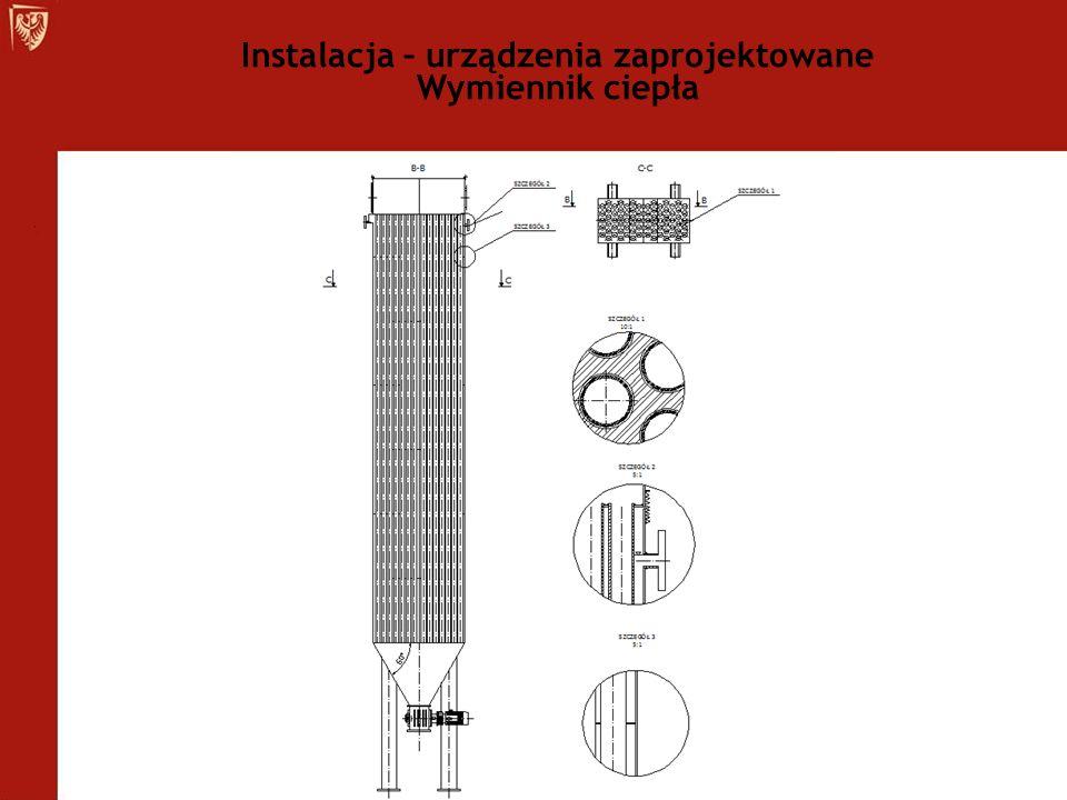 Instalacja – urządzenia zaprojektowane Wymiennik ciepła
