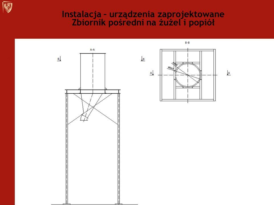 Instalacja – urządzenia zaprojektowane Zbiornik pośredni na żużel i popiół