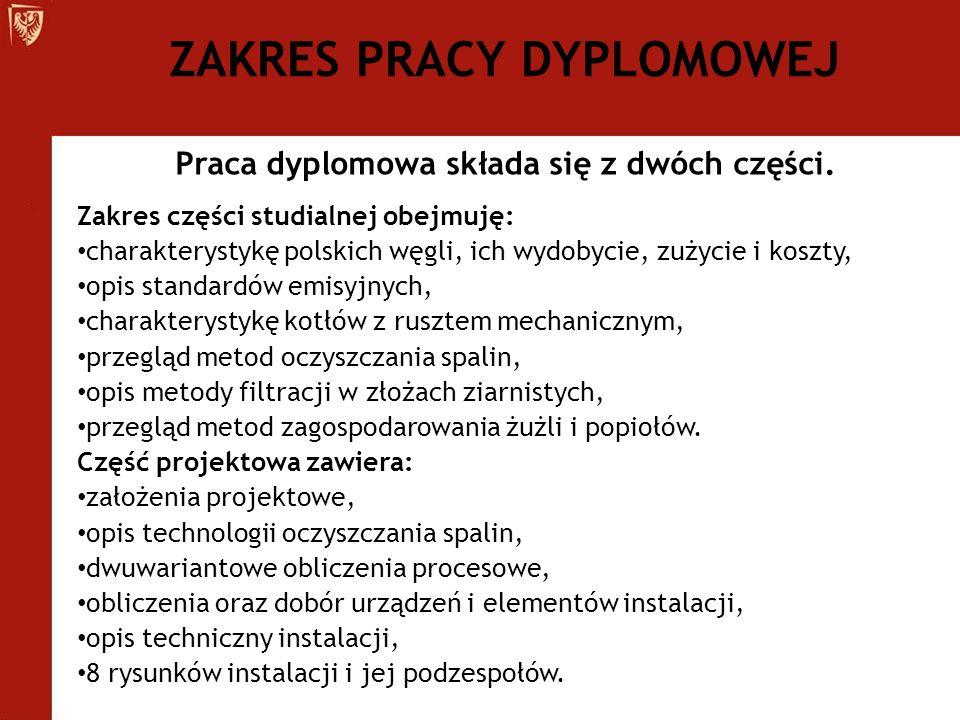 Praca dyplomowa składa się z dwóch części. Zakres części studialnej obejmuję: charakterystykę polskich węgli, ich wydobycie, zużycie i koszty, opis st