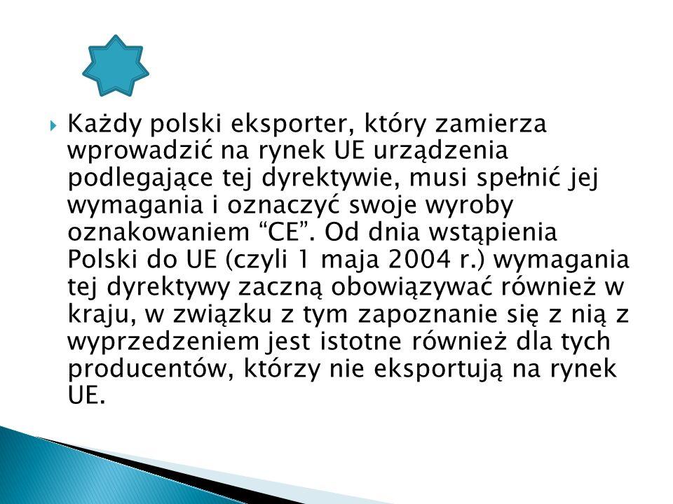 Każdy polski eksporter, który zamierza wprowadzić na rynek UE urządzenia podlegające tej dyrektywie, musi spełnić jej wymagania i oznaczyć swoje wyrob
