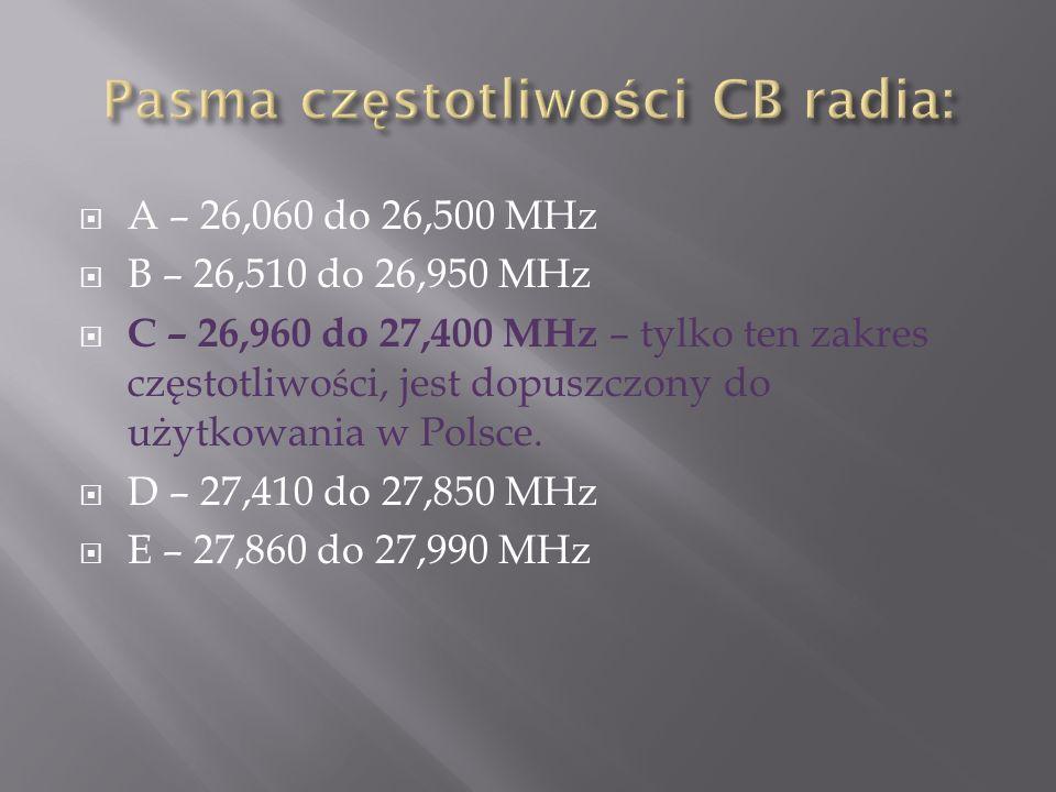 A – 26,060 do 26,500 MHz B – 26,510 do 26,950 MHz C – 26,960 do 27,400 MHz – tylko ten zakres częstotliwości, jest dopuszczony do użytkowania w Polsce