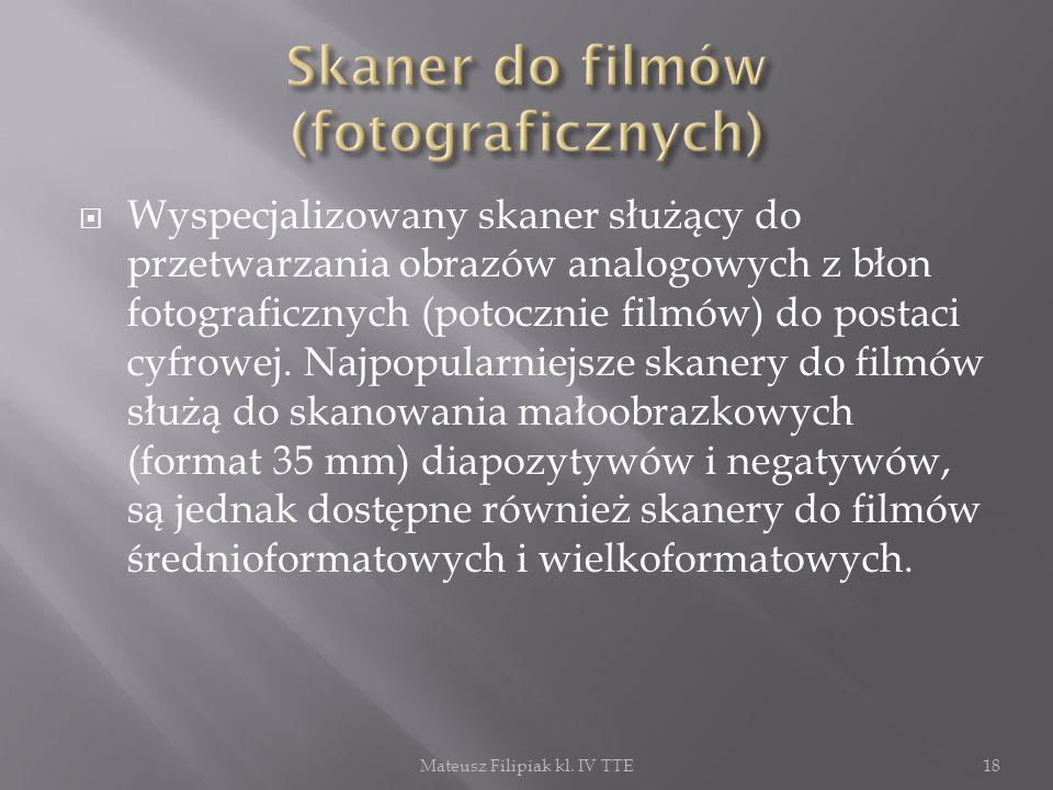 Wyspecjalizowany skaner służący do przetwarzania obrazów analogowych z błon fotograficznych (potocznie filmów) do postaci cyfrowej. Najpopularniejsze