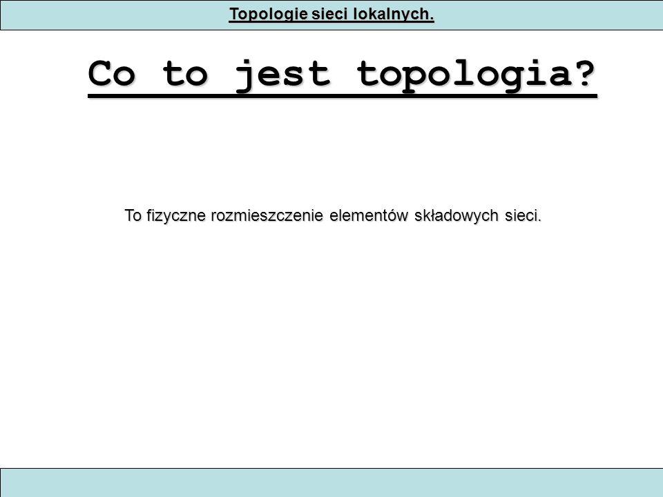 Topologie sieciowe Topologia sieciowa określa układ komputerów, okablowania i innych urządzeń w sieci.