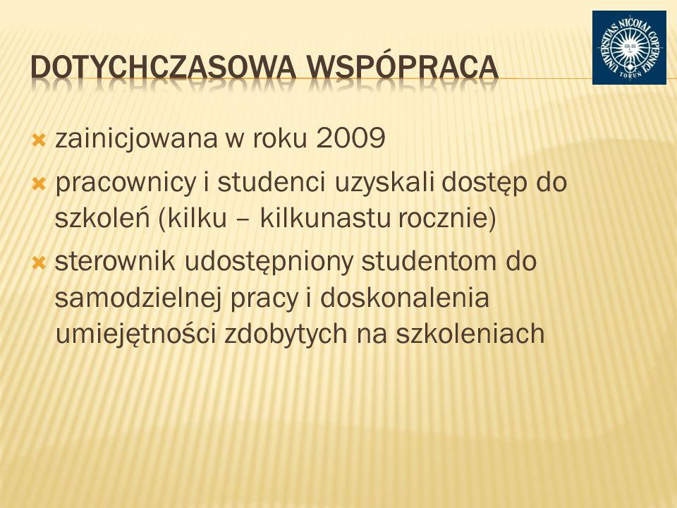 zainicjowana w roku 2009 pracownicy i studenci uzyskali dostęp do szkoleń (kilku – kilkunastu rocznie) sterownik udostępniony studentom do samodzielnej pracy i doskonalenia umiejętności zdobytych na szkoleniach