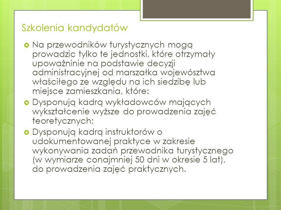 Szkolenie przewodnickie Obejmuje 250 godzin wykładów i ćwiczeń, m.in.