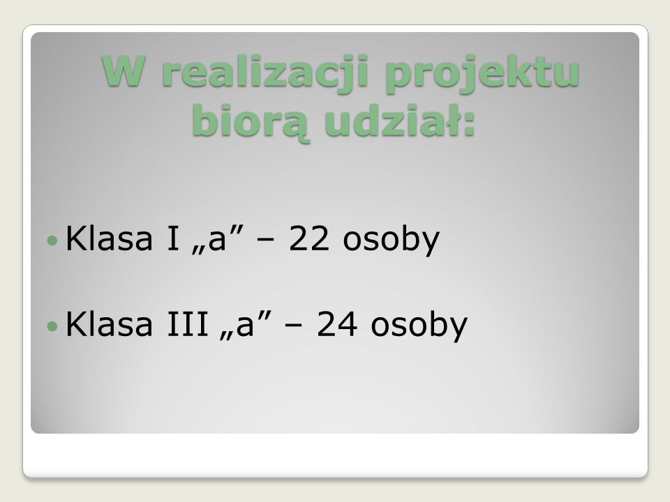W realizacji projektu biorą udział: W realizacji projektu biorą udział: Klasa I a – 22 osoby Klasa III a – 24 osoby