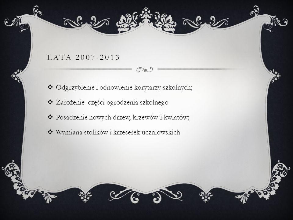 LATA 2007-2013 Odgrzybienie i odnowienie korytarzy szkolnych; Założenie części ogrodzenia szkolnego Posadzenie nowych drzew, krzewów i kwiatów; Wymiana stolików i krzesełek uczniowskich