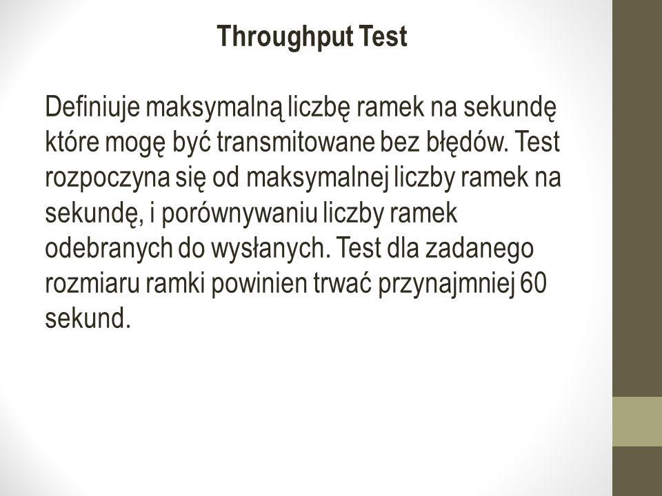 Throughput Test Definiuje maksymalną liczbę ramek na sekundę które mogę być transmitowane bez błędów.