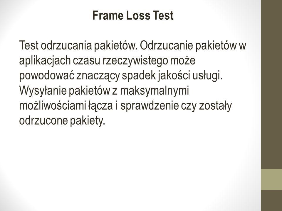 Frame Loss Test Test odrzucania pakietów.