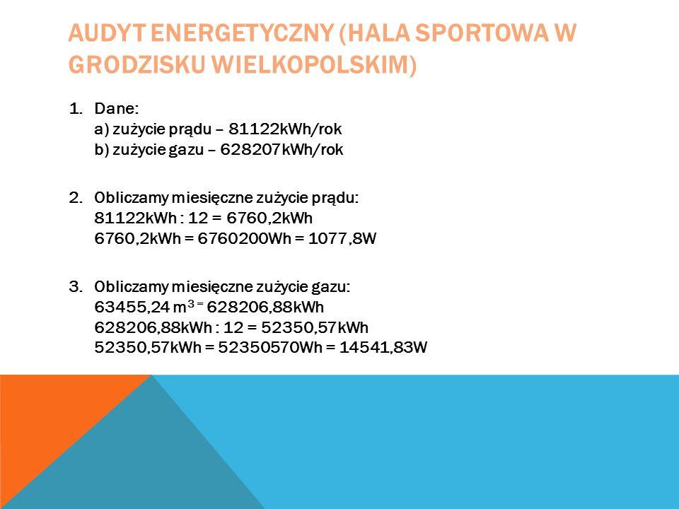 AUDYT ENERGETYCZNY (HALA SPORTOWA W GRODZISKU WIELKOPOLSKIM) 1.Dane: a) zużycie prądu – 81122kWh/rok b) zużycie gazu – 628207kWh/rok 2.Obliczamy miesi