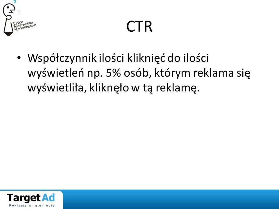 CTR Współczynnik ilości kliknięć do ilości wyświetleń np.
