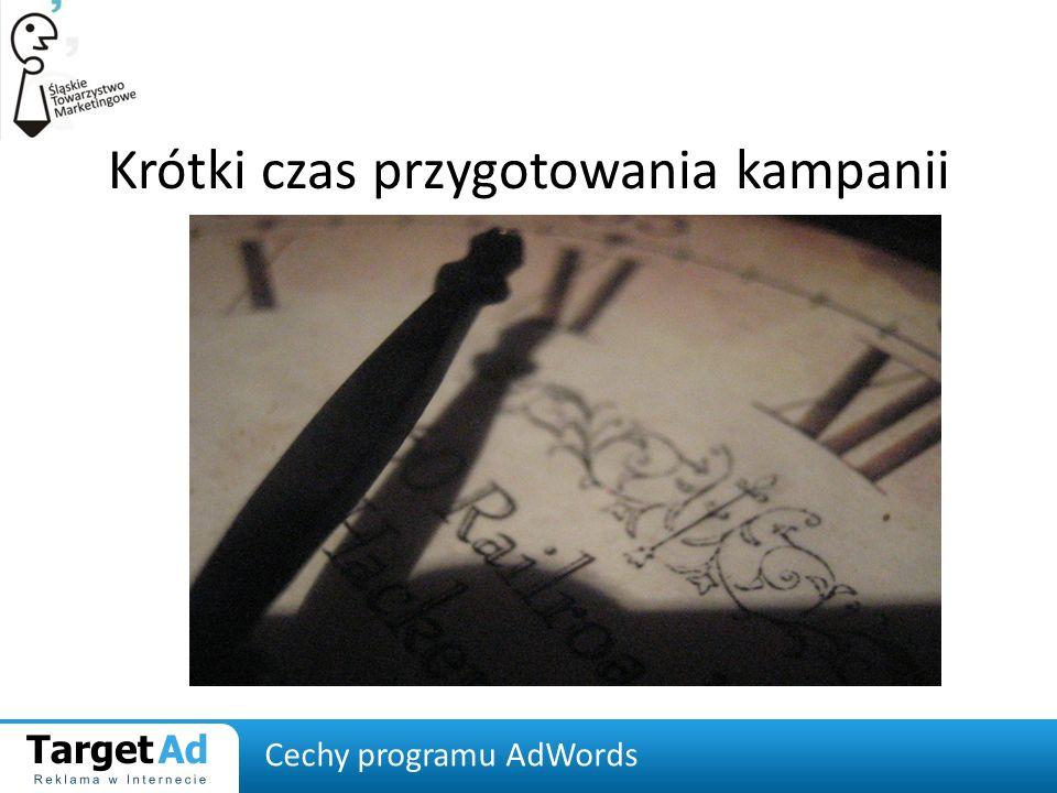 Krótki czas przygotowania kampanii Cechy programu AdWords