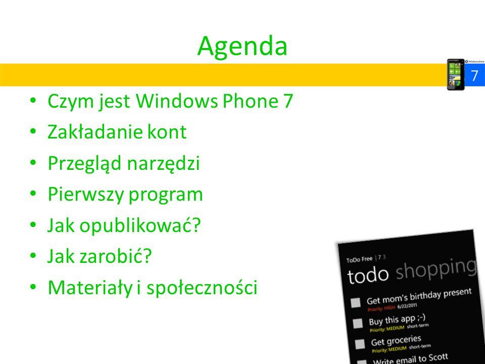 Agenda Czym jest Windows Phone 7 Zakładanie kont Przegląd narzędzi Pierwszy program Jak opublikować? Jak zarobić? Materiały i społeczności