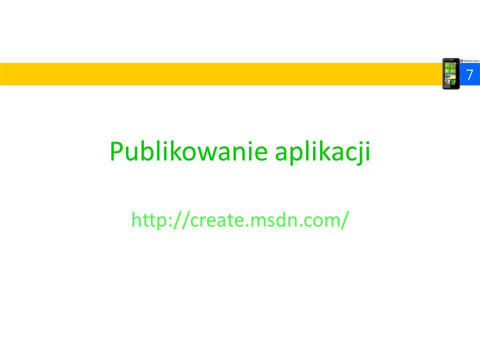 Publikowanie aplikacji http://create.msdn.com/