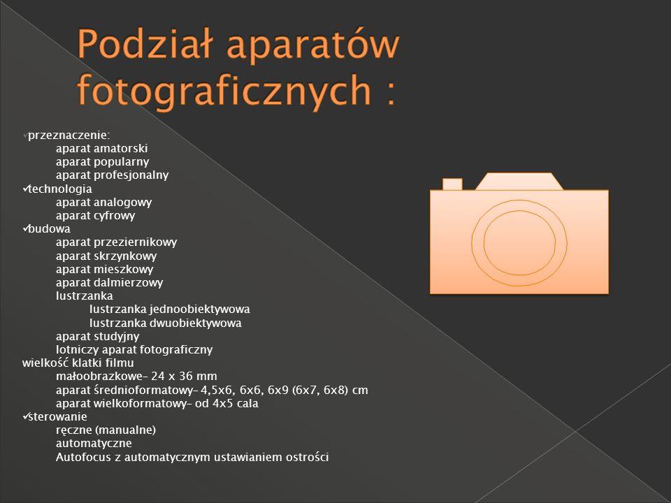 przeznaczenie: aparat amatorski aparat popularny aparat profesjonalny technologia aparat analogowy aparat cyfrowy budowa aparat przeziernikowy aparat