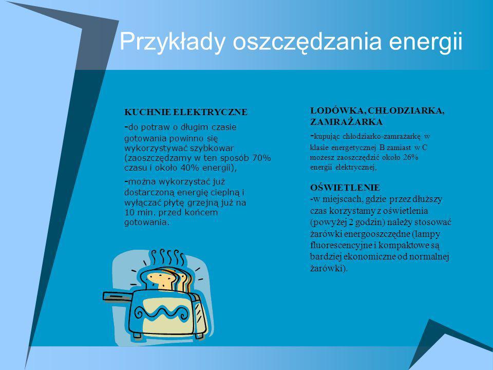 Przykłady oszczędzania energii KUCHNIE ELEKTRYCZNE - do potraw o długim czasie gotowania powinno się wykorzystywać szybkowar (zaoszczędzamy w ten spos