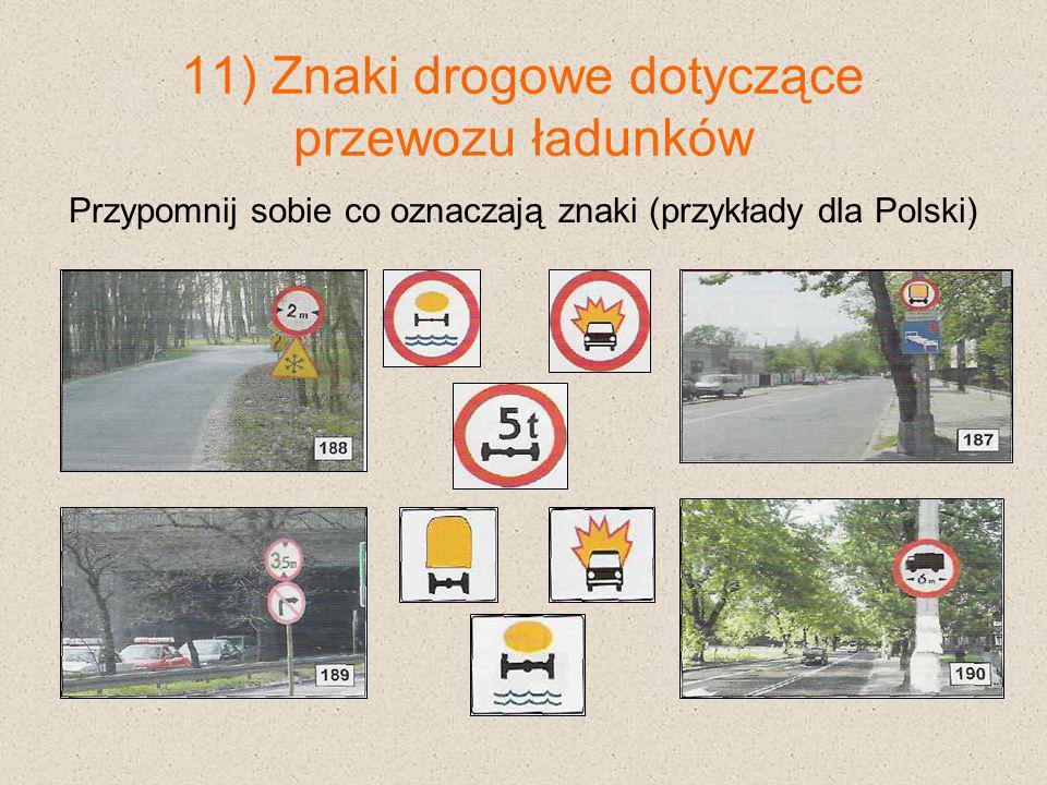 11) Znaki drogowe dotyczące przewozu ładunków Przypomnij sobie co oznaczają znaki (przykłady dla Polski)