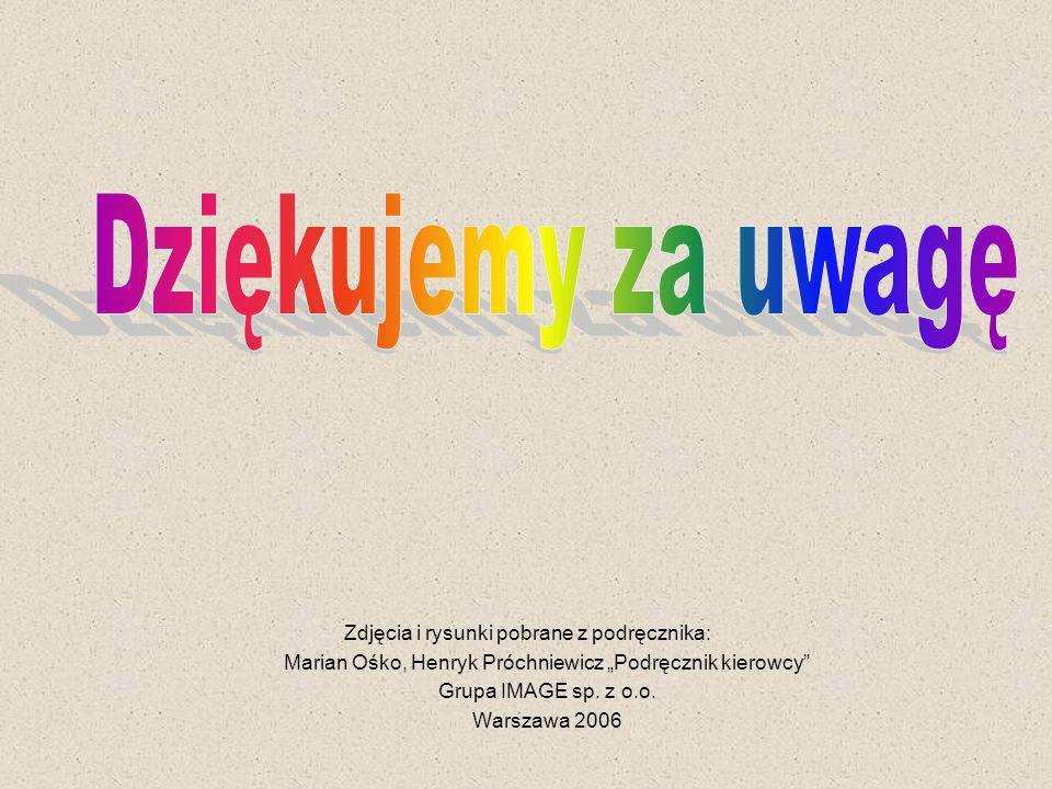 Zdjęcia i rysunki pobrane z podręcznika: Marian Ośko, Henryk Próchniewicz Podręcznik kierowcy Grupa IMAGE sp. z o.o. Warszawa 2006