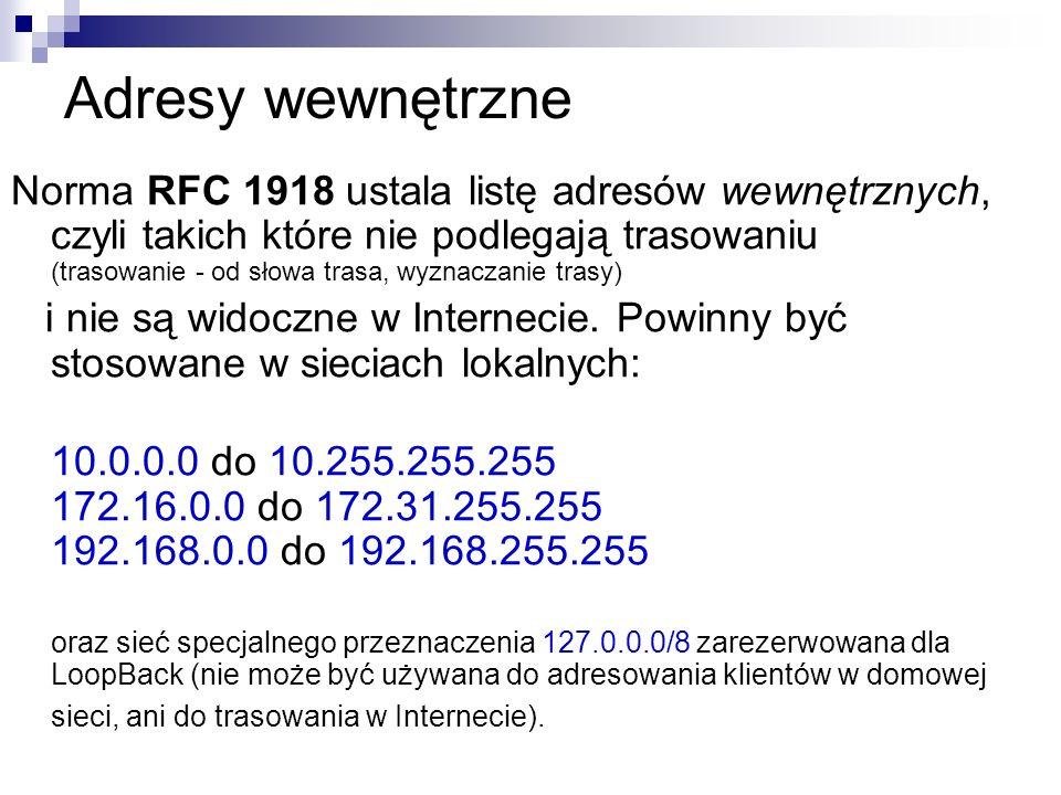 Adresy wewnętrzne Norma RFC 1918 ustala listę adresów wewnętrznych, czyli takich które nie podlegają trasowaniu (trasowanie - od słowa trasa, wyznacza