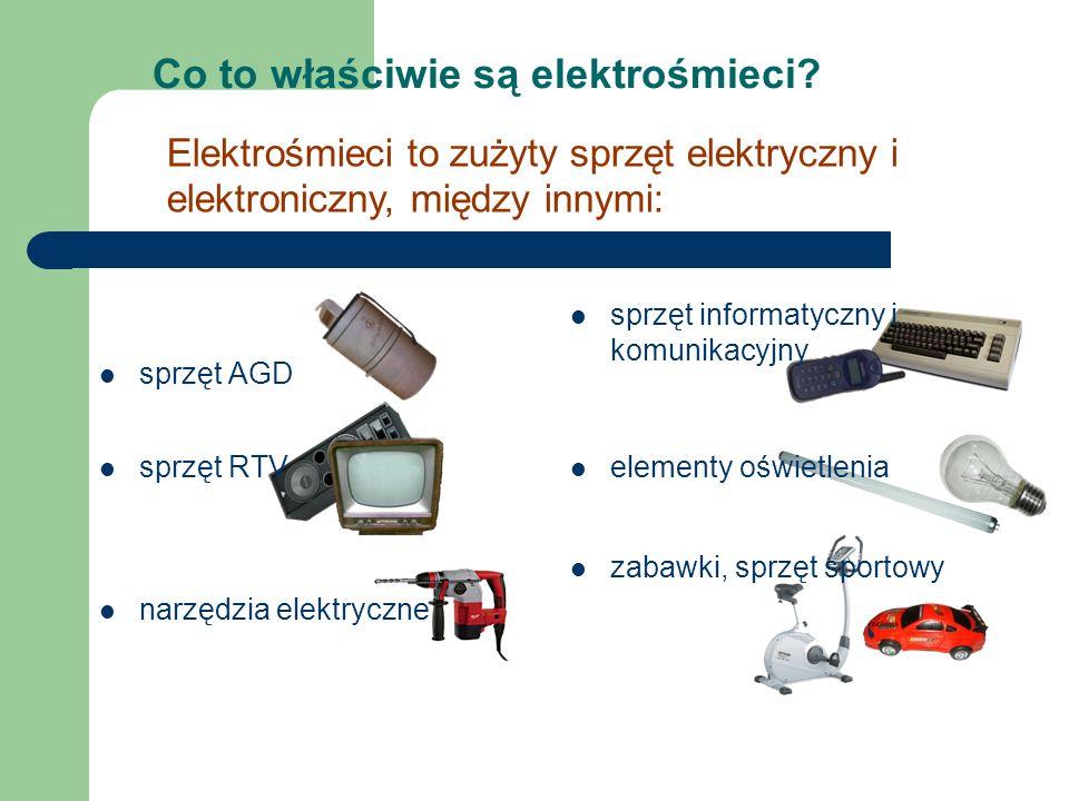 Co to właściwie są elektrośmieci? sprzęt AGD Elektrośmieci to zużyty sprzęt elektryczny i elektroniczny, między innymi: sprzęt informatyczny i komunik