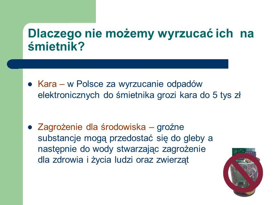 Dlaczego nie możemy wyrzucać ich na śmietnik? Kara – w Polsce za wyrzucanie odpadów elektronicznych do śmietnika grozi kara do 5 tys zł Zagrożenie dla