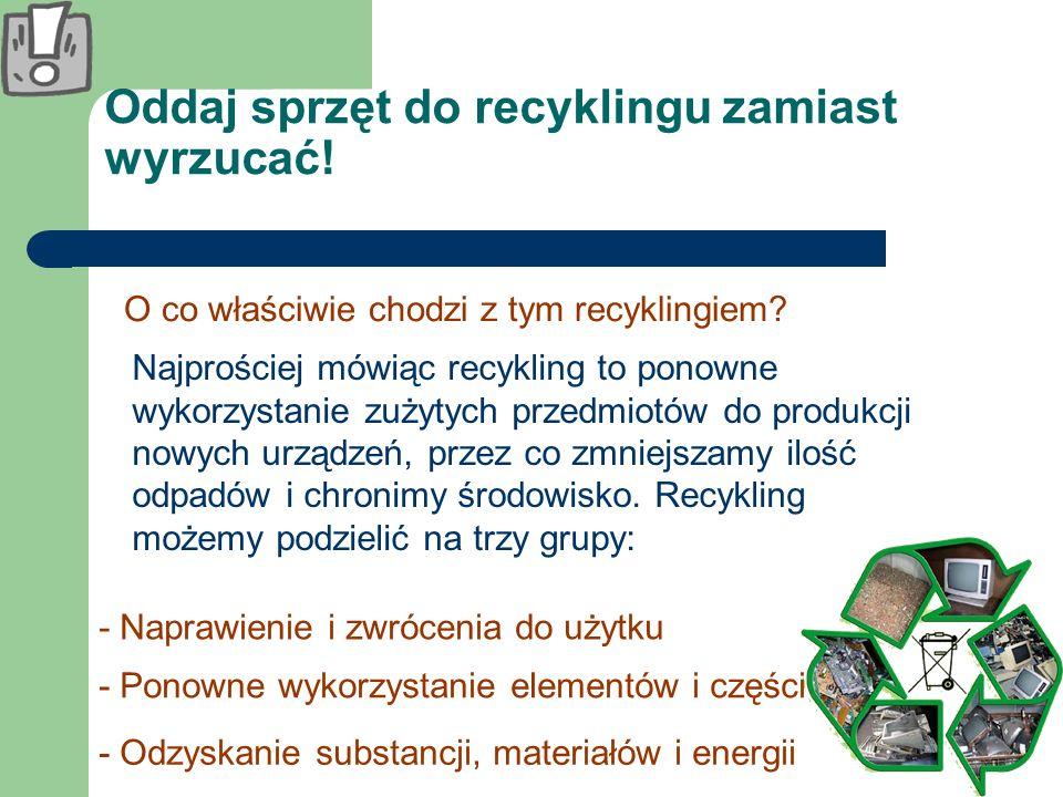 Oddaj sprzęt do recyklingu zamiast wyrzucać! O co właściwie chodzi z tym recyklingiem? Najprościej mówiąc recykling to ponowne wykorzystanie zużytych