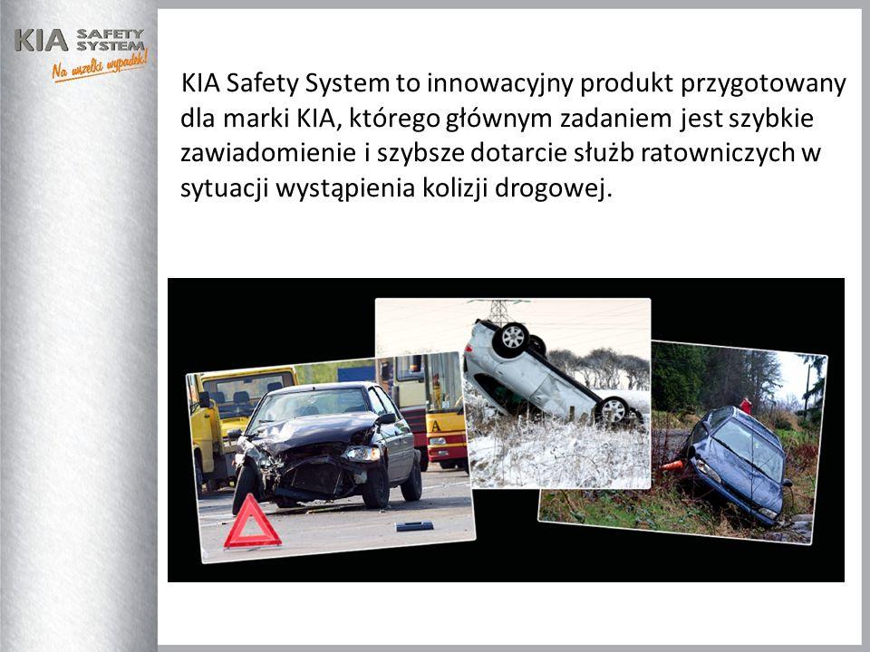KIA Safety System to innowacyjny produkt przygotowany dla marki KIA, którego głównym zadaniem jest szybkie zawiadomienie i szybsze dotarcie służb rato