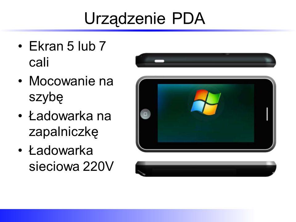 Urządzenie PDA Ekran 5 lub 7 cali Mocowanie na szybę Ładowarka na zapalniczkę Ładowarka sieciowa 220V