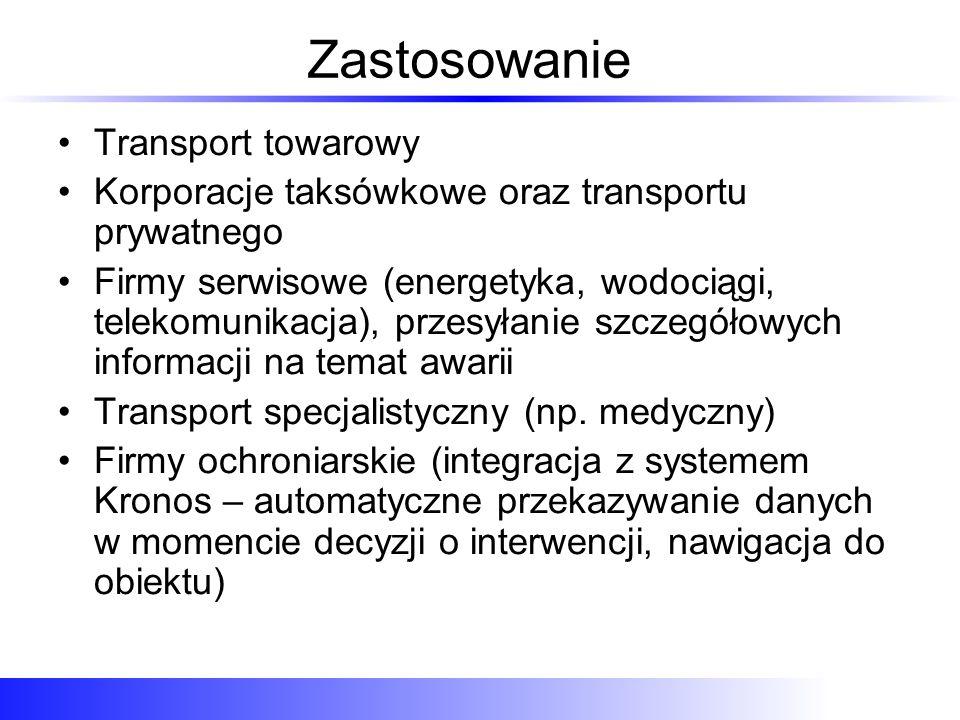 Zastosowanie Transport towarowy Korporacje taksówkowe oraz transportu prywatnego Firmy serwisowe (energetyka, wodociągi, telekomunikacja), przesyłanie szczegółowych informacji na temat awarii Transport specjalistyczny (np.