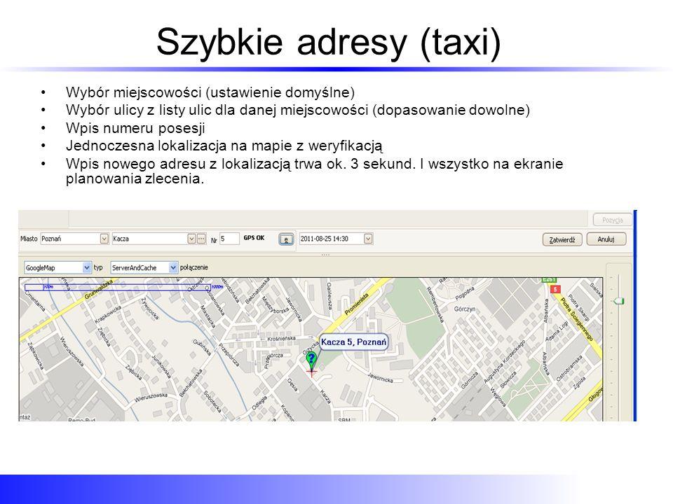 Szybkie adresy (taxi) Wybór miejscowości (ustawienie domyślne) Wybór ulicy z listy ulic dla danej miejscowości (dopasowanie dowolne) Wpis numeru poses
