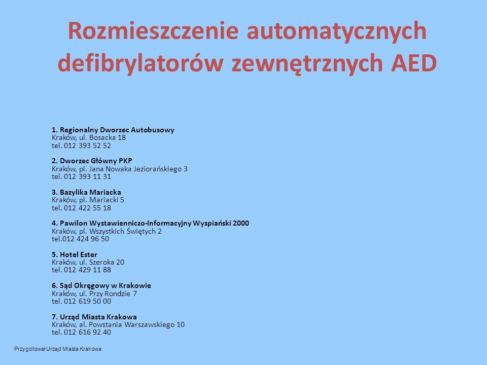 Rozmieszczenie automatycznych defibrylatorów zewnętrznych AED 1. Regionalny Dworzec Autobusowy Kraków, ul. Bosacka 18 tel. 012 393 52 52 2. Dworzec Gł
