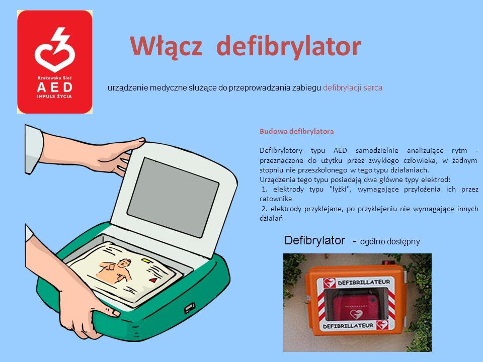 Włącz defibrylator urządzenie medyczne służące do przeprowadzania zabiegu defibrylacji serca Defibrylator - ogólno dostępny Budowa defibrylatora Defib