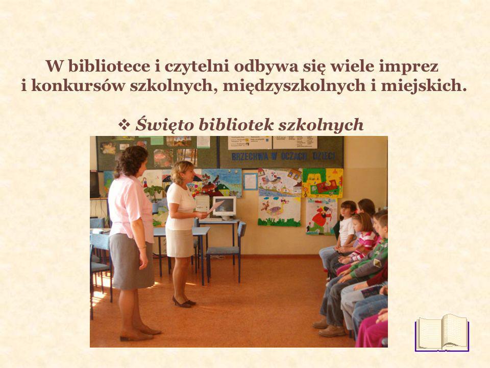 W bibliotece i czytelni odbywa się wiele imprez i konkursów szkolnych, międzyszkolnych i miejskich.
