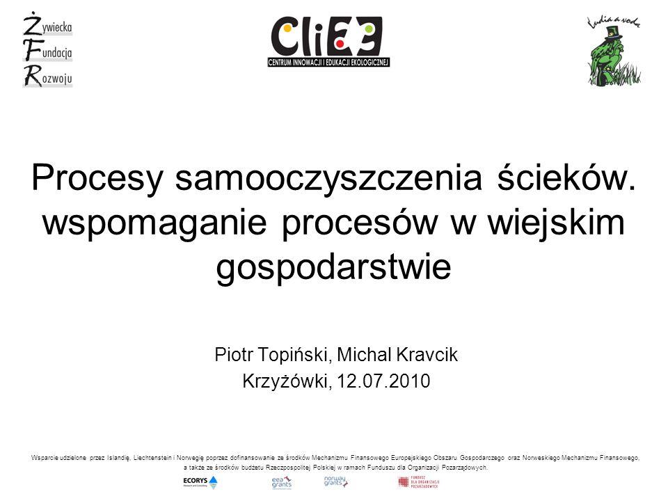 Procesy samooczyszczenia ścieków. wspomaganie procesów w wiejskim gospodarstwie Piotr Topiński, Michal Kravcik Krzyżówki, 12.07.2010 Wsparcie udzielon
