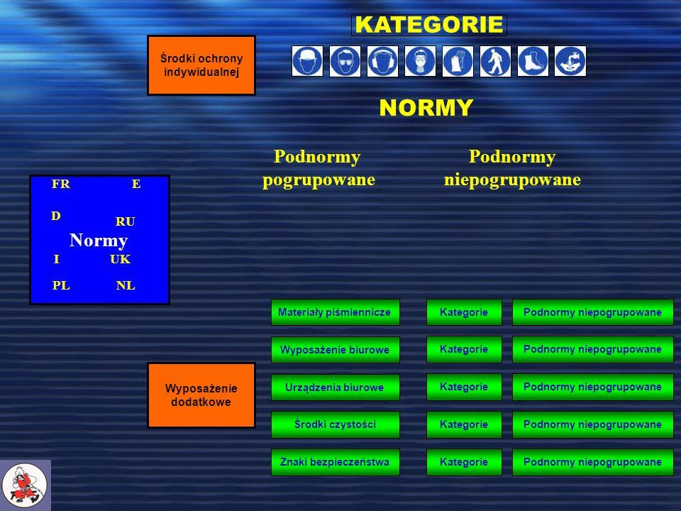 Normy Środki ochrony indywidualnej KATEGORIE NORMY Podnormy pogrupowane Podnormy niepogrupowane Wyposażenie dodatkowe Wyposażenie biurowe Urządzenia biurowe Środki czystości Materiały piśmiennicze Znaki bezpieczeństwa KategoriePodnormy niepogrupowane KategoriePodnormy niepogrupowane KategoriePodnormy niepogrupowane KategoriePodnormy niepogrupowane KategoriePodnormy niepogrupowane FRE D RU I PL UK NLNL