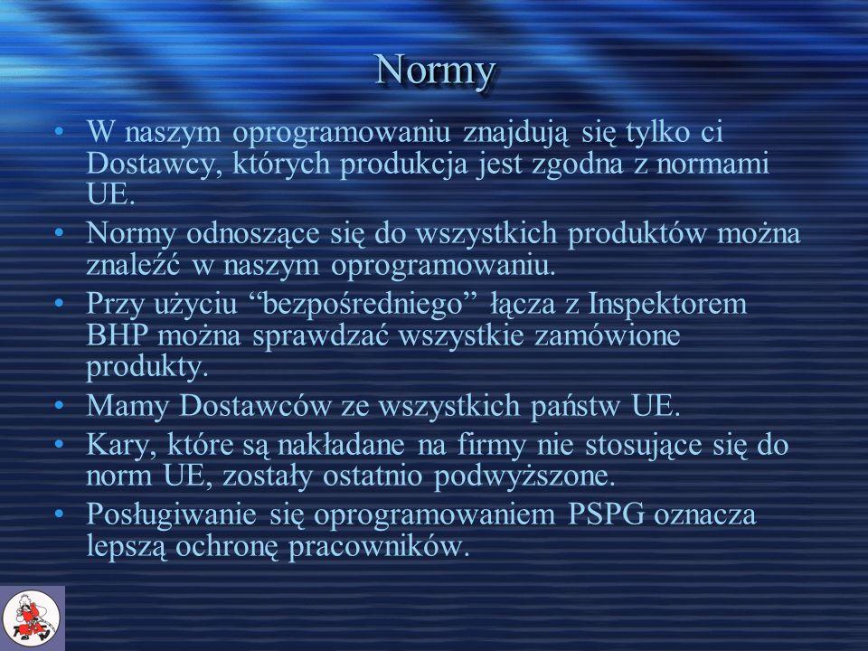 NormyNormy W naszym oprogramowaniu znajdują się tylko ci Dostawcy, których produkcja jest zgodna z normami UE.