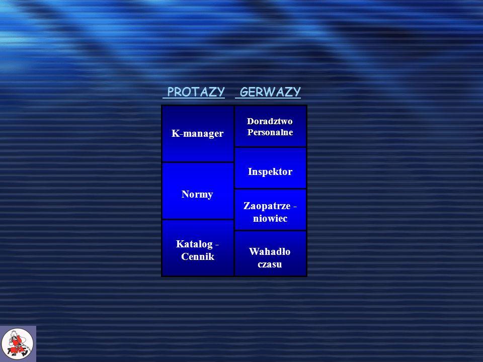 K-manager Katalog - Cennik Normy Doradztwo Personalne Inspektor Zaopatrze - niowiec Wahadło czasu PROTAZY GERWAZY