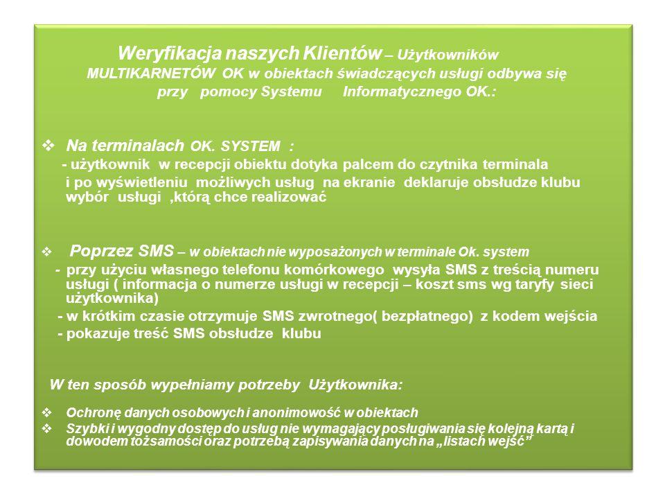 Weryfikacja naszych Klientów – Użytkowników MULTIKARNETÓW OK w obiektach świadczących usługi odbywa się przy pomocy Systemu Informatycznego OK.: Na te