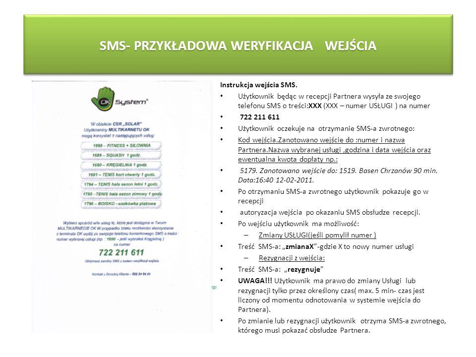 SMS- PRZYKŁADOWA WERYFIKACJA WEJŚCIA POKAZANY W RECEPCJI SMS Z KODEM WEJŚCIA POZWALA NA SKORZYSTANIE Z USLUGI Instrukcja wejścia SMS. Użytkownik będąc
