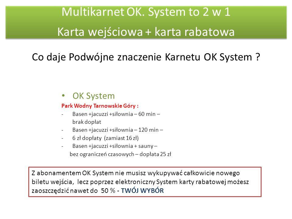 Multikarnet OK. System to 2 w 1 Karta wejściowa + karta rabatowa Co daje Podwójne znaczenie Karnetu OK System ? OK System Park Wodny Tarnowskie Góry :