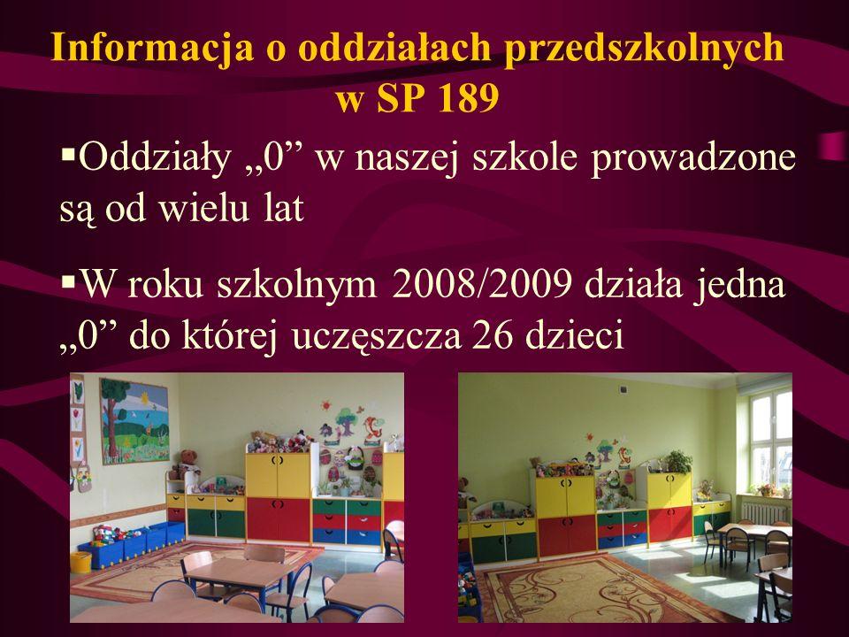 Informacja o oddziałach przedszkolnych w SP 189 Oddziały 0 w naszej szkole prowadzone są od wielu lat W roku szkolnym 2008/2009 działa jedna 0 do której uczęszcza 26 dzieci