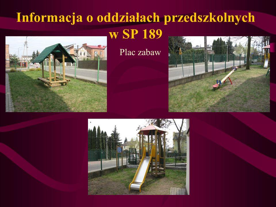 Informacja o oddziałach przedszkolnych w SP 189 Plac zabaw