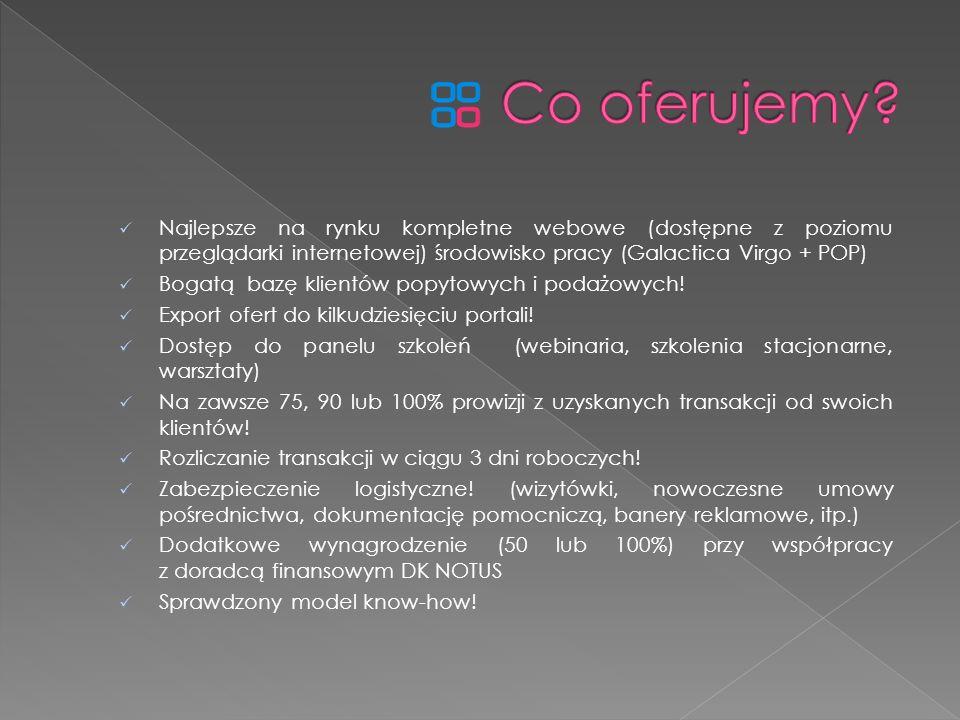 Najlepsze na rynku kompletne webowe (dostępne z poziomu przeglądarki internetowej) środowisko pracy (Galactica Virgo + POP) Bogatą bazę klientów popyt