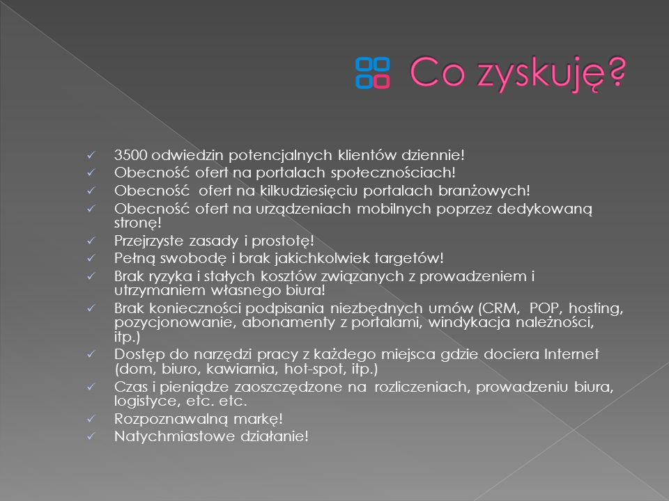 Gratka.pl Morizon.pl Oferty.net Otodom.pl Domy.pl Nieruchomości-online.pl KRN.pl nPortal.pl Bizzone.pl Trovit.pl Szybko.pl m.mrex.eu – tablety, smartfony Dominium.pl Najdom.pl Allegro.pl Opendoor.pl Money.pl Polishproperty.pl Lokoom.pl, Hogo.pl, PropertyNews.pl Anonse.pl Bizzone.pl mrex.eu ….