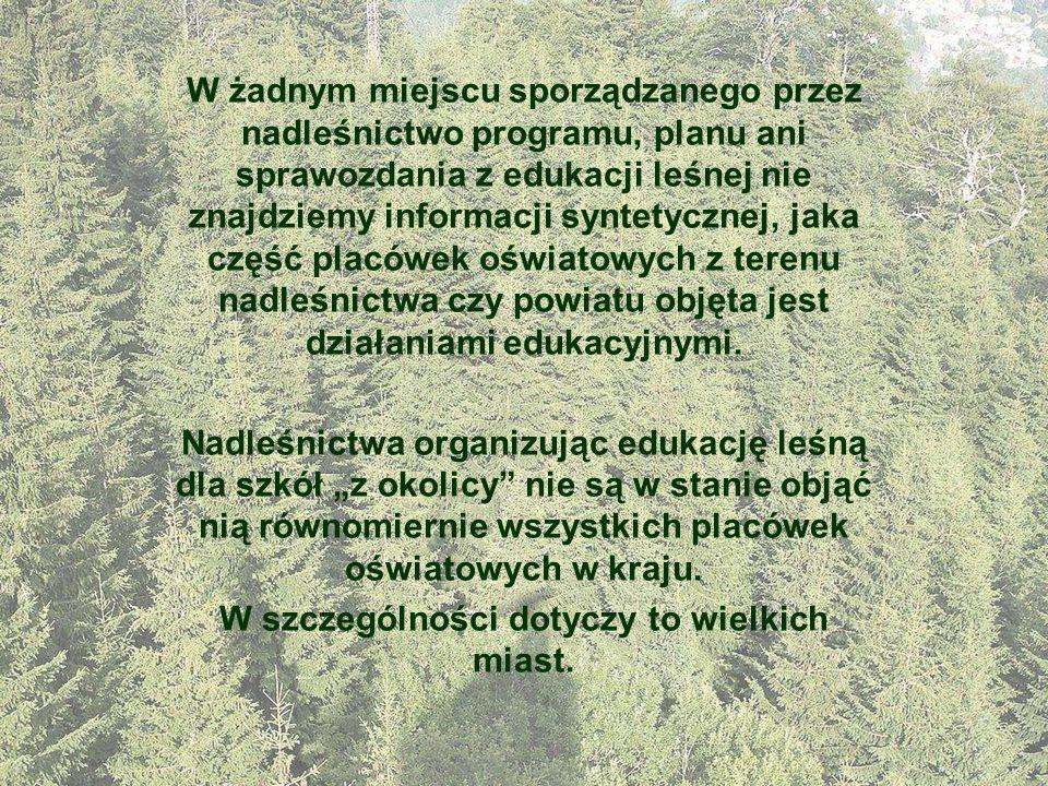 W żadnym miejscu sporządzanego przez nadleśnictwo programu, planu ani sprawozdania z edukacji leśnej nie znajdziemy informacji syntetycznej, jaka częś