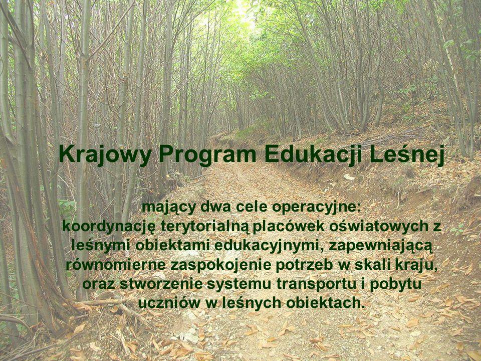 Krajowy Program Edukacji Leśnej mający dwa cele operacyjne: koordynację terytorialną placówek oświatowych z leśnymi obiektami edukacyjnymi, zapewniają