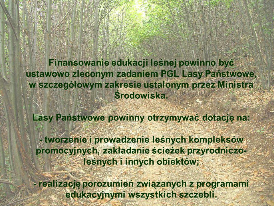 Finansowanie edukacji leśnej powinno być ustawowo zleconym zadaniem PGL Lasy Państwowe, w szczegółowym zakresie ustalonym przez Ministra Środowiska. L