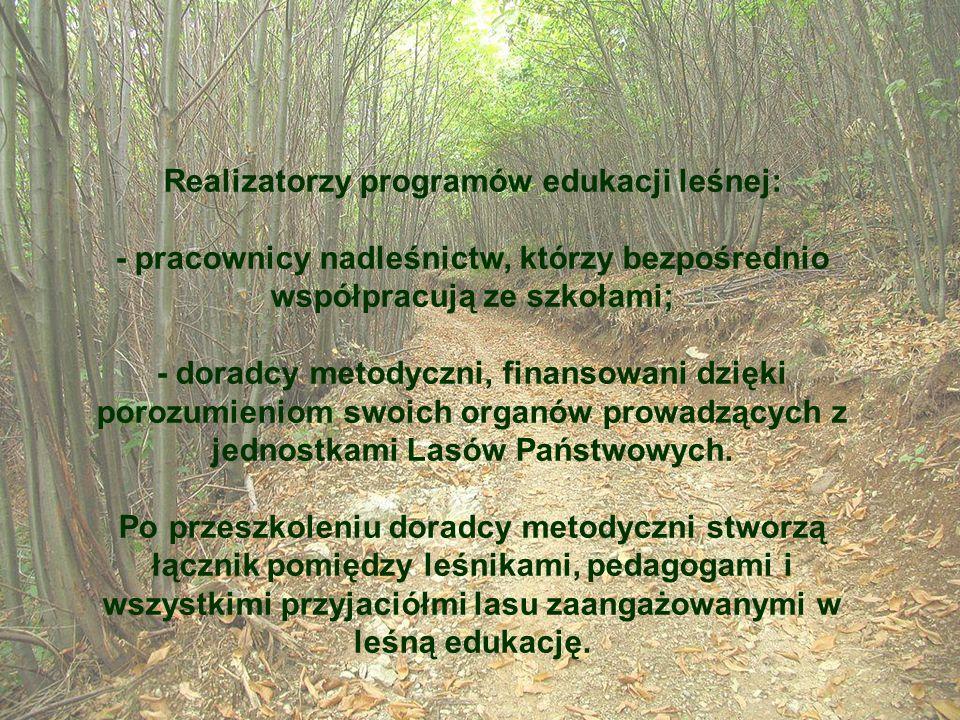Realizatorzy programów edukacji leśnej: - pracownicy nadleśnictw, którzy bezpośrednio współpracują ze szkołami; - doradcy metodyczni, finansowani dzię