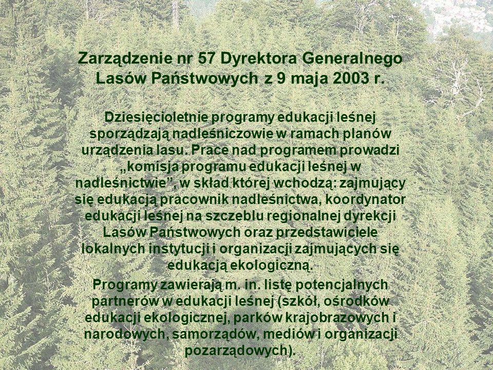 Zarządzenie nr 57 Dyrektora Generalnego Lasów Państwowych z 9 maja 2003 r. Dziesięcioletnie programy edukacji leśnej sporządzają nadleśniczowie w rama