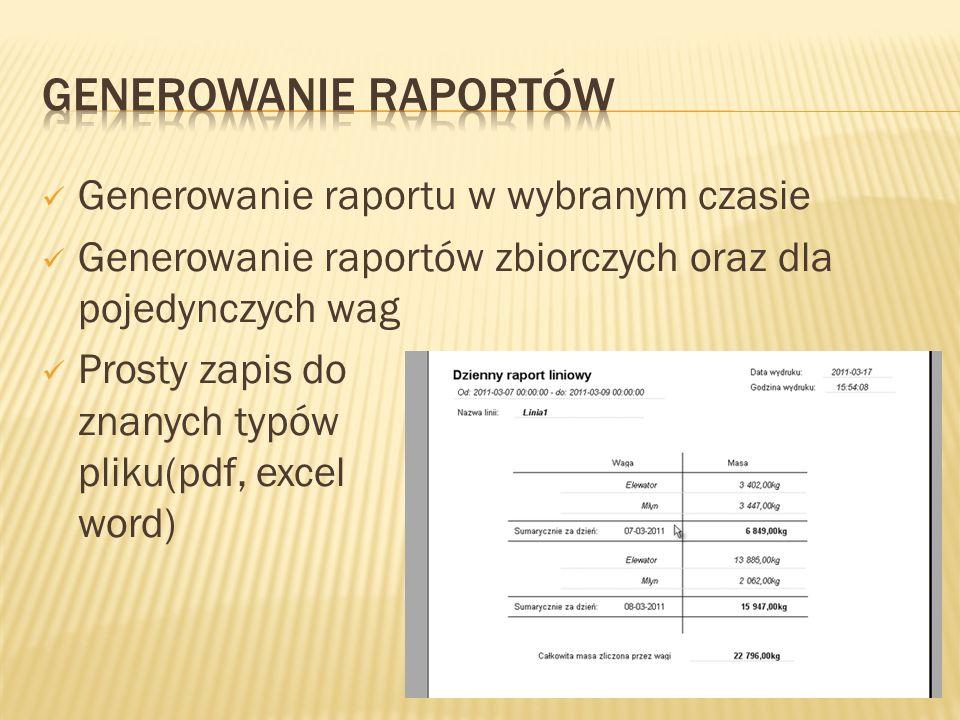 Generowanie raportu w wybranym czasie Generowanie raportów zbiorczych oraz dla pojedynczych wag Prosty zapis do znanych typów pliku(pdf, excel word)
